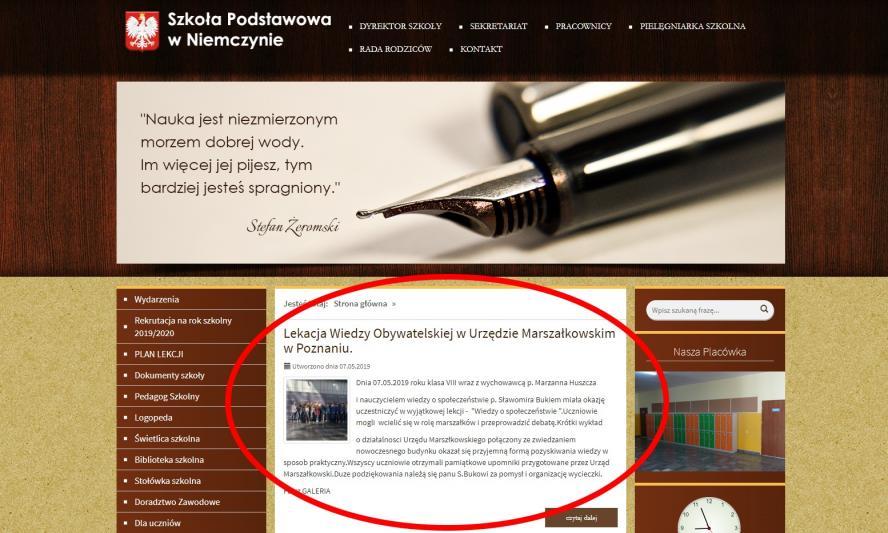 Informacja o zorganizowanej wycieczce ze strony internetowej SP w Niemczynie- kliknij aby powiększyć