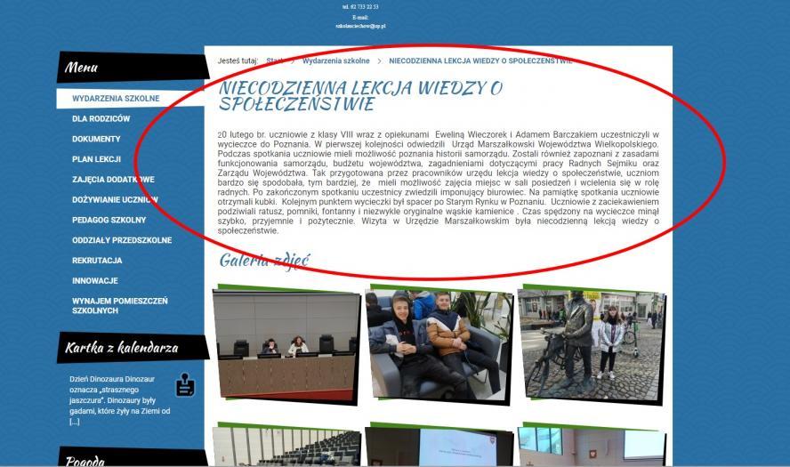Aktualności na temat projektu ze strony www SP w Uciechowie- kliknij aby powiększyć