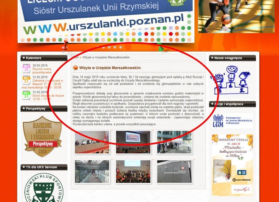 Informacja o wycieczce ze strony www Zespołu Szkół Urszulańskich w Poznaniu- kliknij aby powiększyć