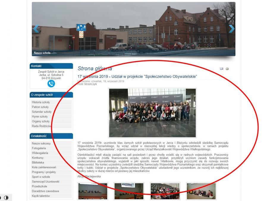 Informacja o zorganizowanej wycieczce ze strony internetowej ZS w Jerce- kliknij aby powiększyć