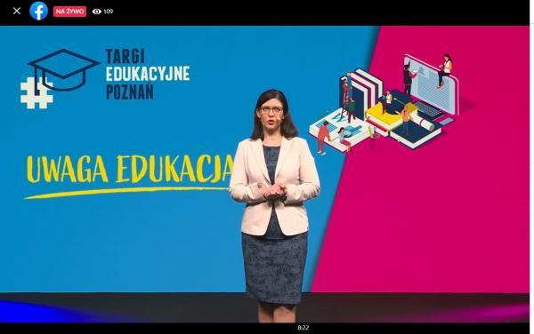 Paulina Stochniałek - Członek Zarządu ZWW otwiera XXV Targi Edukacyjne online- kliknij aby powiększyć