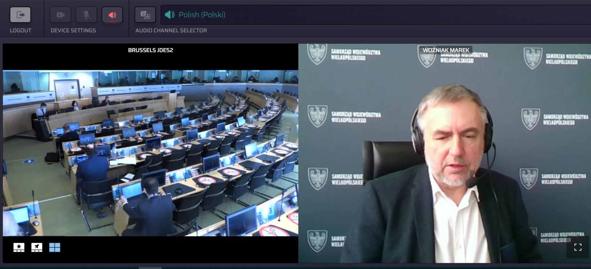 Marszałek Marek Woźniak o trudnej sytuacji lotnisk regionalnych na spotkaniu Europejskiego Komitetu Regionów - zobacz więcej