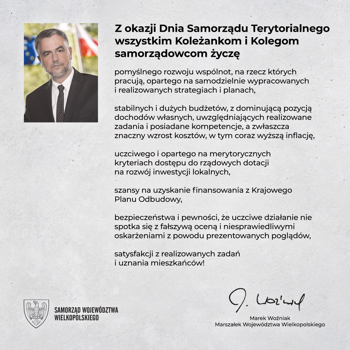 Życzenia Marszałka z okazji Dnia Samorządu Terytorialnego