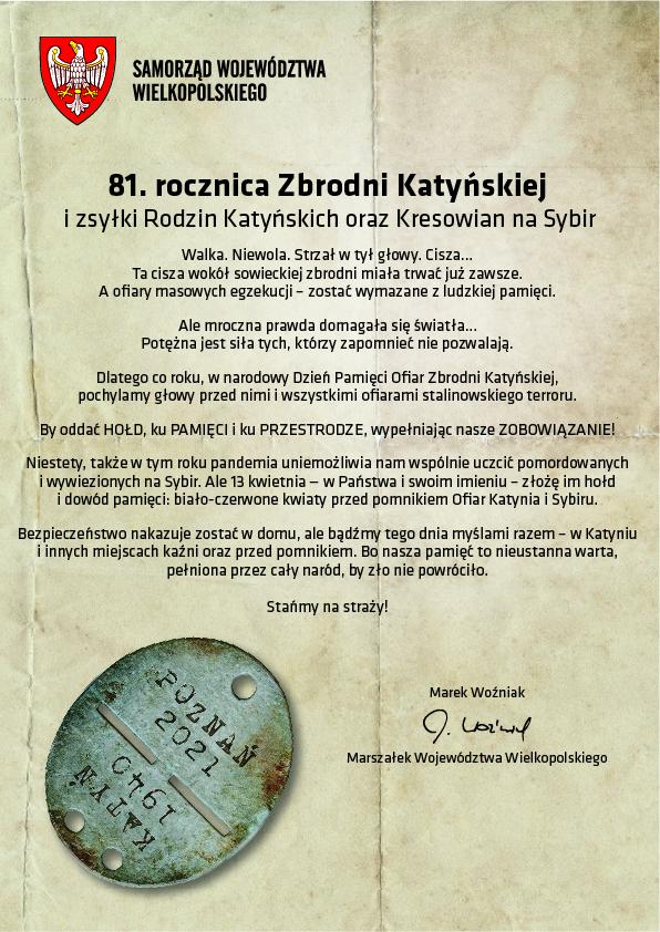 Apel Marszałka Marka Woźniaka w 81. rocznicę Zbrodni Katyńskiej