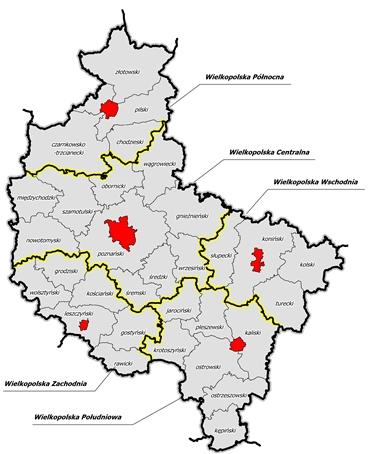 mapa subregionów wielkopolski